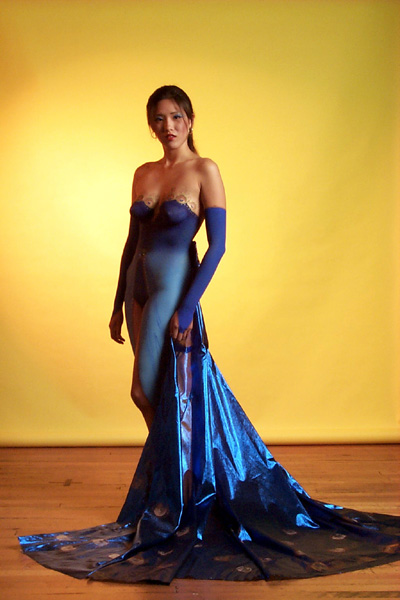 Sexy Blue Long Dress With Art Body Painting Used A Asian Model